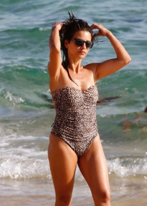 Monica Cruz in Leopard Print Swimsuit at the beach in Zahara De Los Atunes