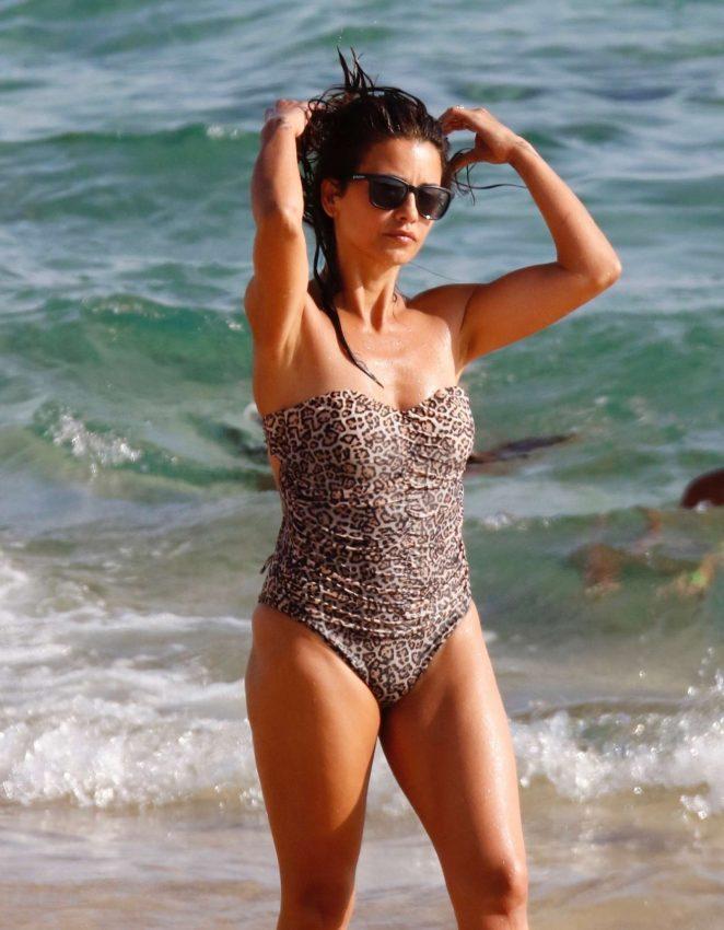 Monica Cruz in Leopard Print Swimsuit at the beach in Zahara De Los Atunes