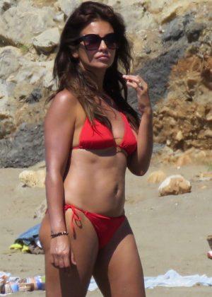 Monica Cruz in Red Bikini on the beach in Marbella