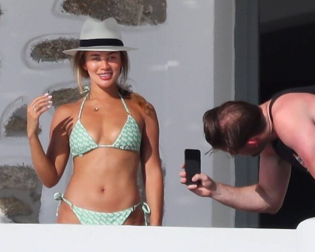 Montana Brown - In a green patterned bikini in Mykonos