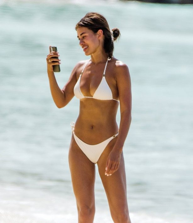 Montana Brown - In a white bikini at a beach in Barbados