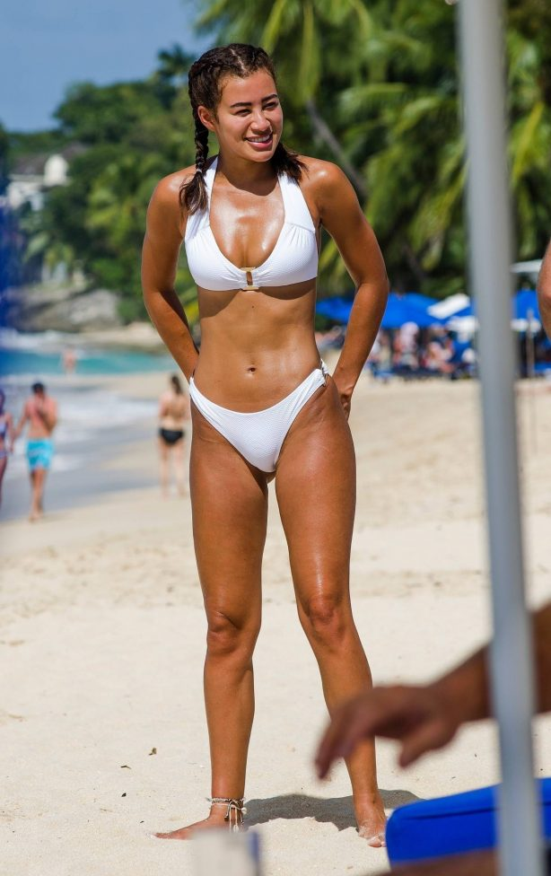Montana Brown - In white bikini on the beach of Barbados