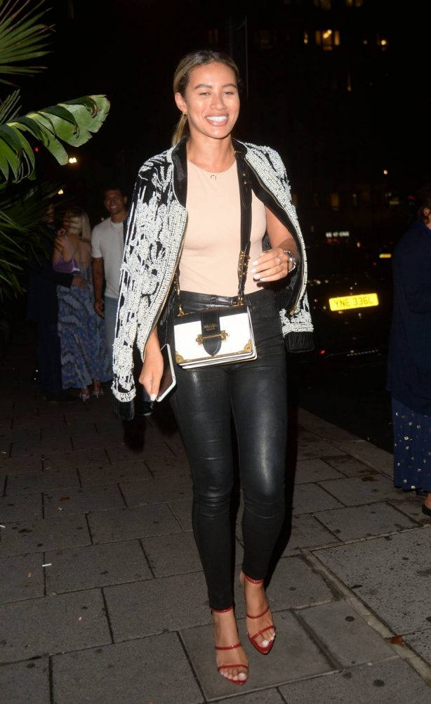 Montana Brown - Nightout leaving Amazonico restaurant in London