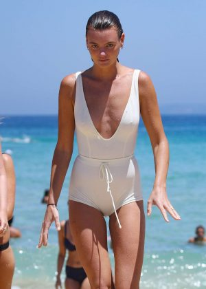 Montana Cox in White Swimsuit on Bondi Beach