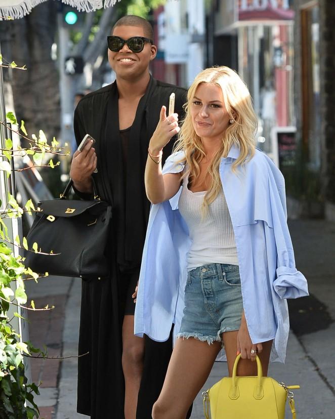Morgan Stewart in Jeans Shorts Leaving The Ivy in LA