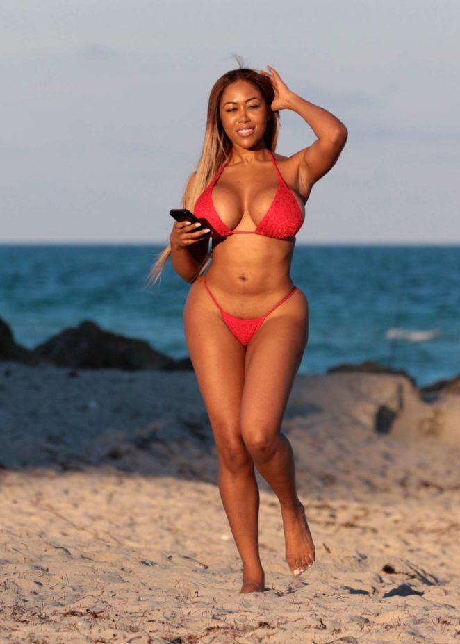 Moriah Mills in Red Bikini at the beach in Miami