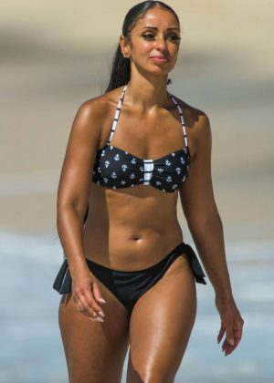 Mya Harrison in Bikini on the beach in Barbados