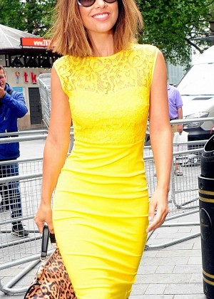 Myleene Klass in Yellow Dress at Global Radio in London