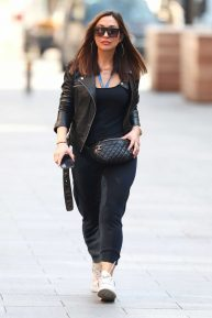 Myleene Klass - Arrives for work at the Global Offices in London