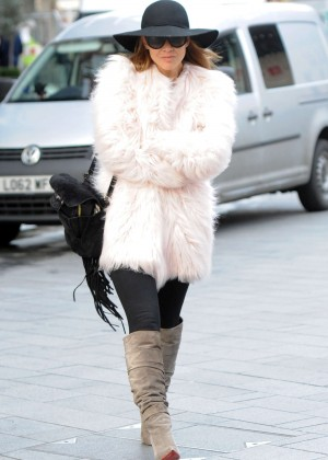 Myleene Klass arriving at Smooth FM in London