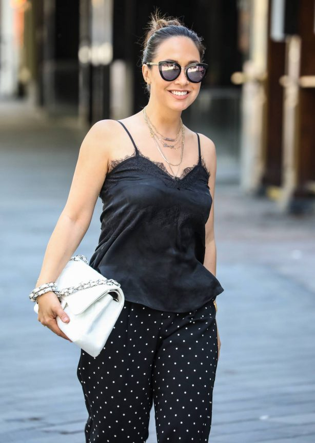 Myleene Klass - Arriving at the Global studios for her Smooth Radio show in London