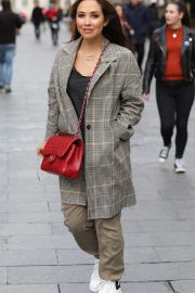 Myleene Klass at Smooth Radio looking chic in Gingham Coat and beige trousers