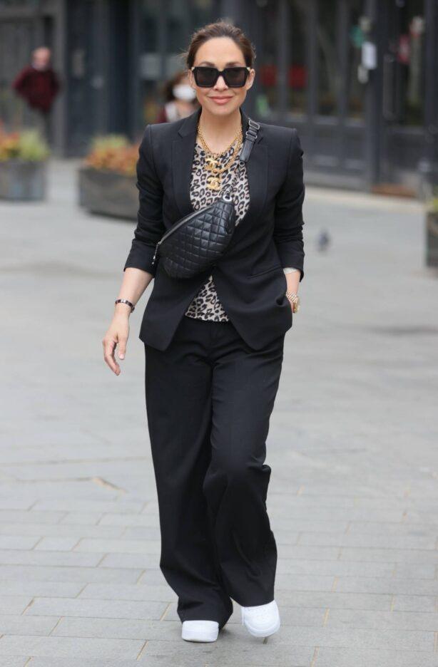 Myleene Klass - In a black trouser suit out in London