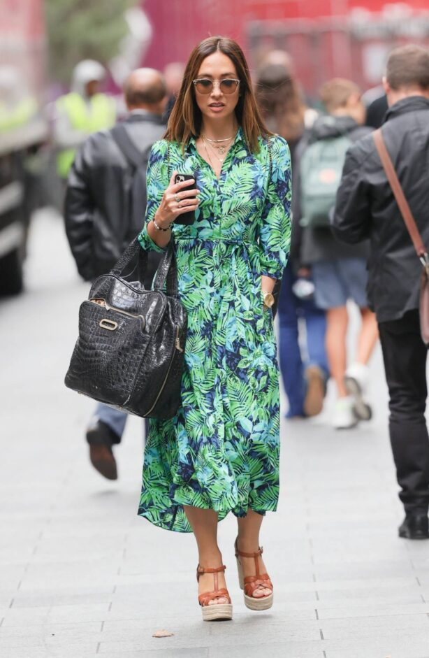 Myleene Klass - In a floral green dress at Smooth Radio in London
