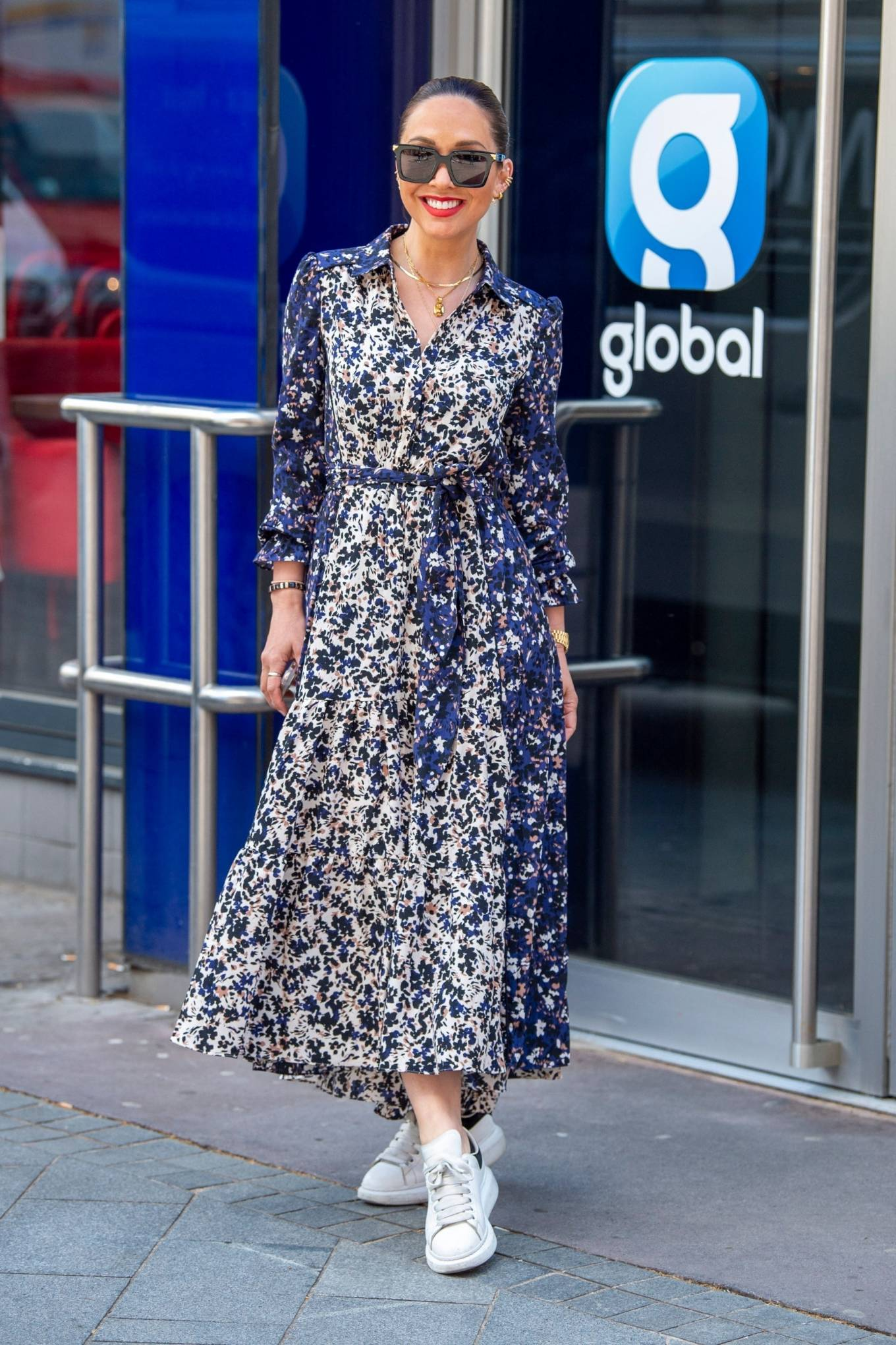 Myleene Klass 2021 : Myleene Klass – In a long summer dress arriving at the Global studios -01