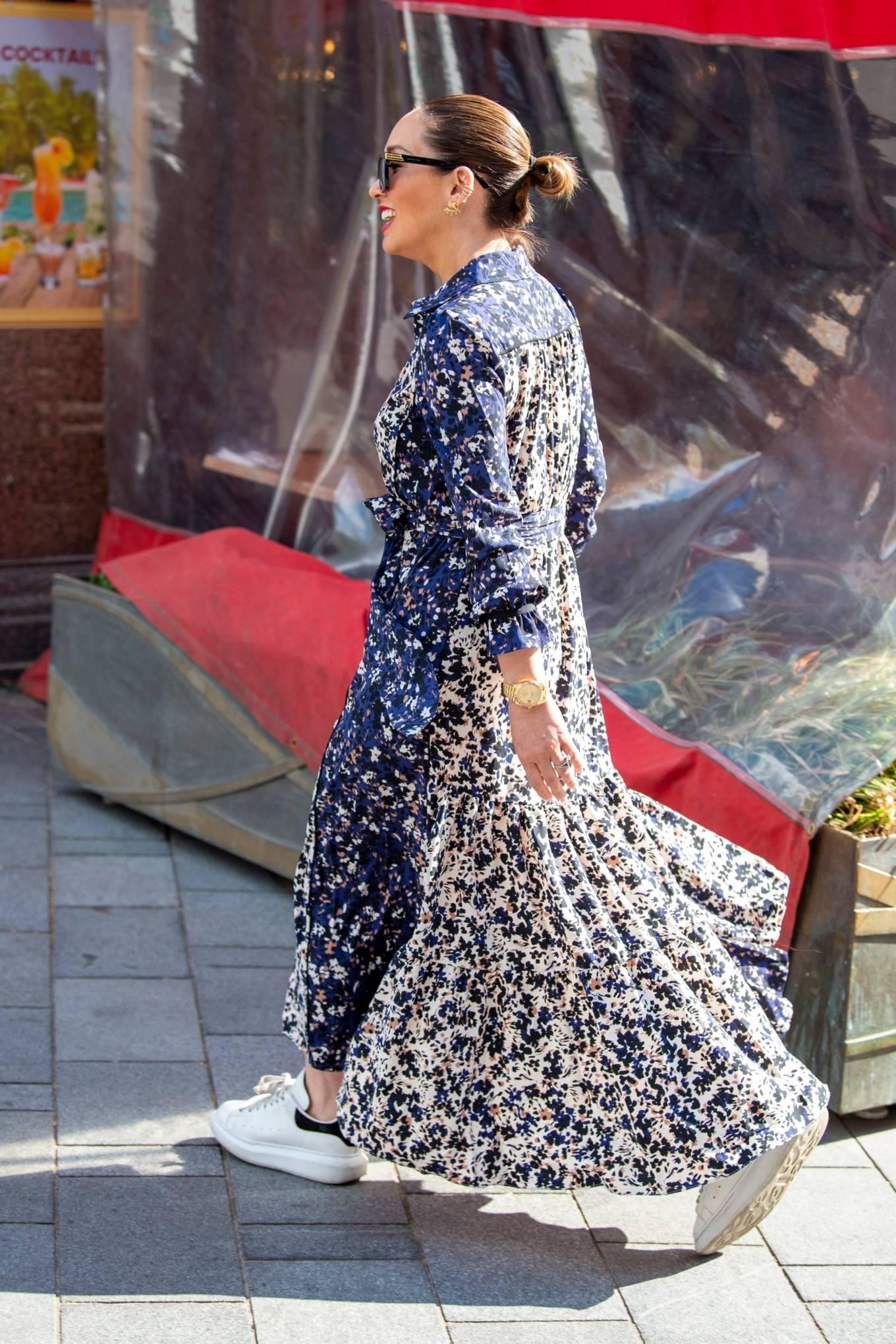 Myleene Klass 2021 : Myleene Klass – In a long summer dress arriving at the Global studios -02