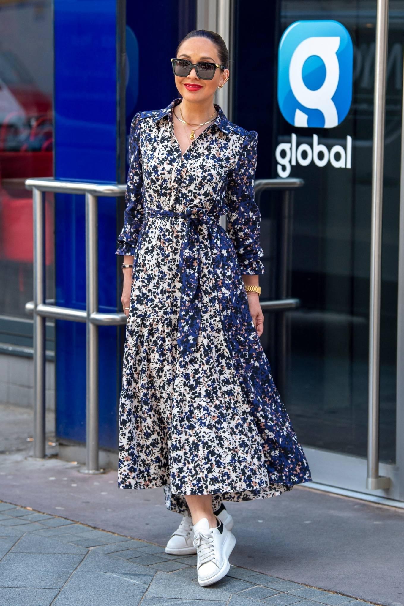 Myleene Klass 2021 : Myleene Klass – In a long summer dress arriving at the Global studios -03