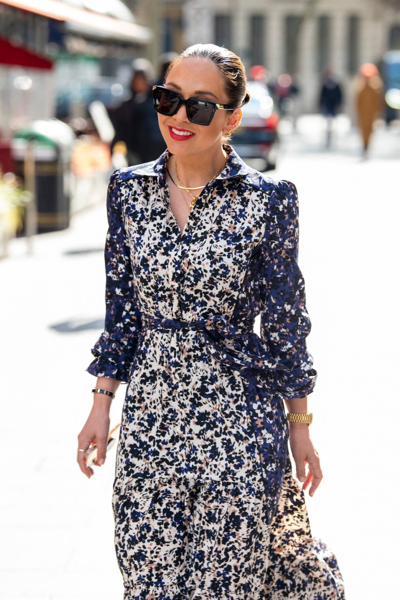 Myleene Klass 2021 : Myleene Klass – In a long summer dress arriving at the Global studios -04