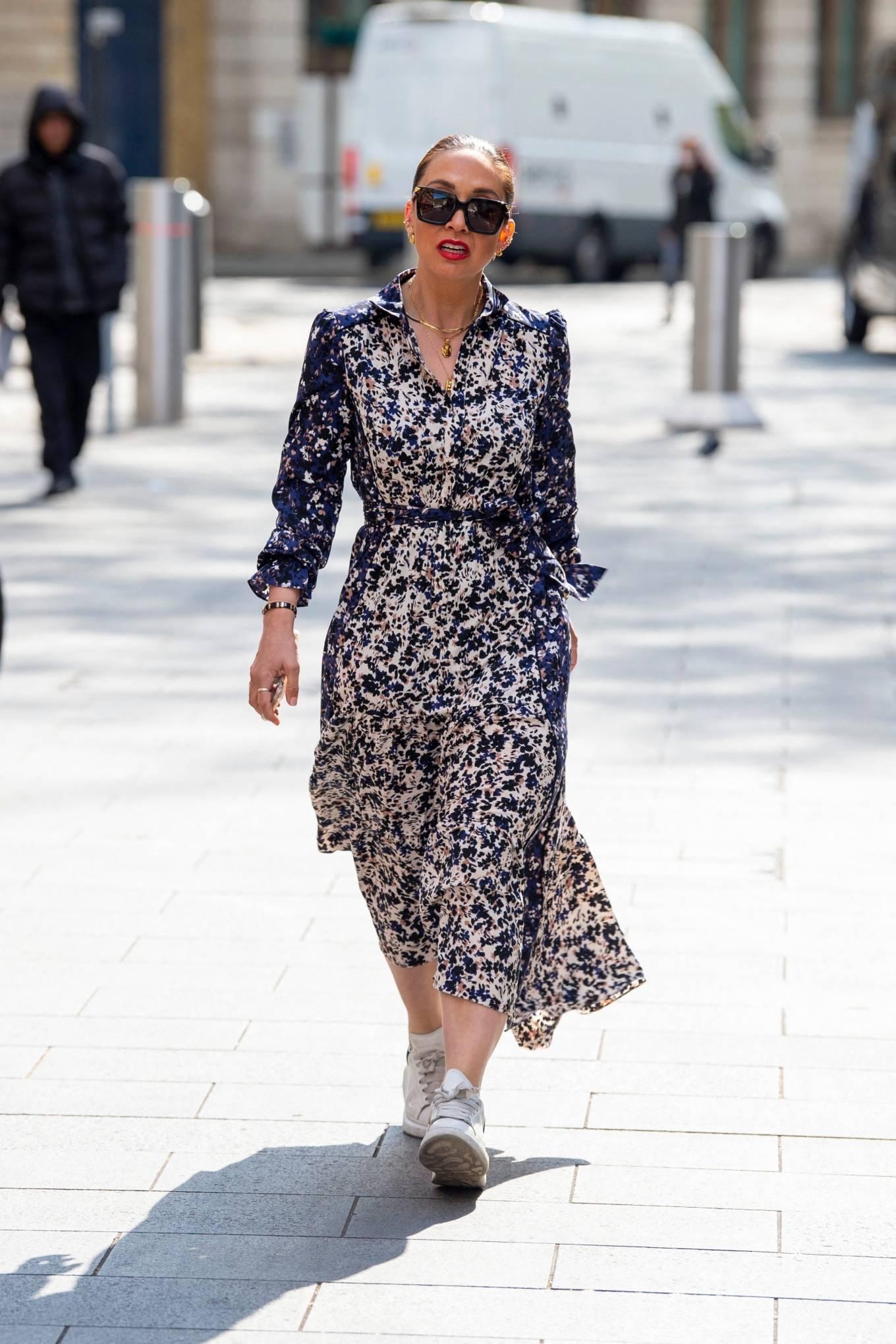 Myleene Klass 2021 : Myleene Klass – In a long summer dress arriving at the Global studios -05