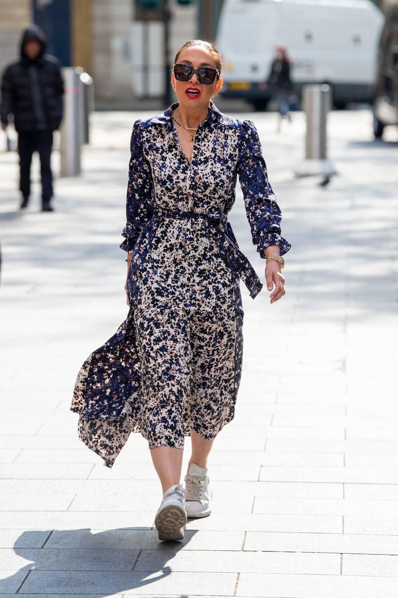 Myleene Klass 2021 : Myleene Klass – In a long summer dress arriving at the Global studios -06
