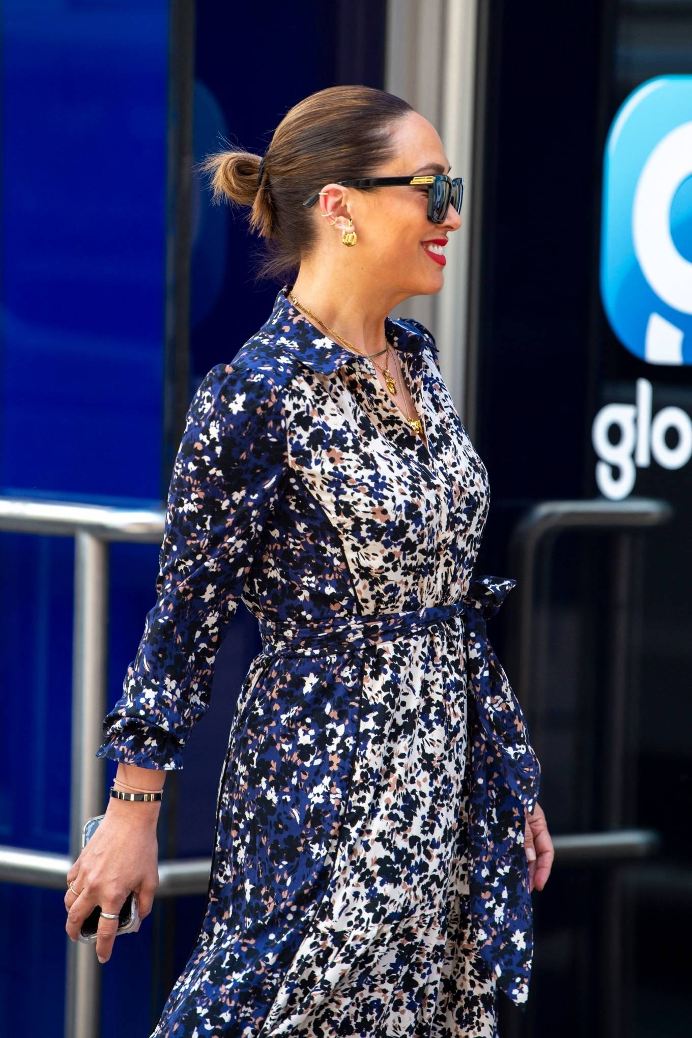 Myleene Klass 2021 : Myleene Klass – In a long summer dress arriving at the Global studios -07