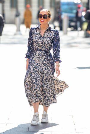 Myleene Klass - In a long summer dress arriving at the Global studios