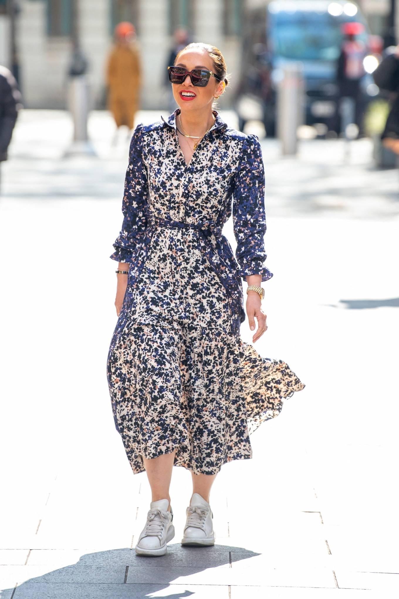 Myleene Klass 2021 : Myleene Klass – In a long summer dress arriving at the Global studios -08