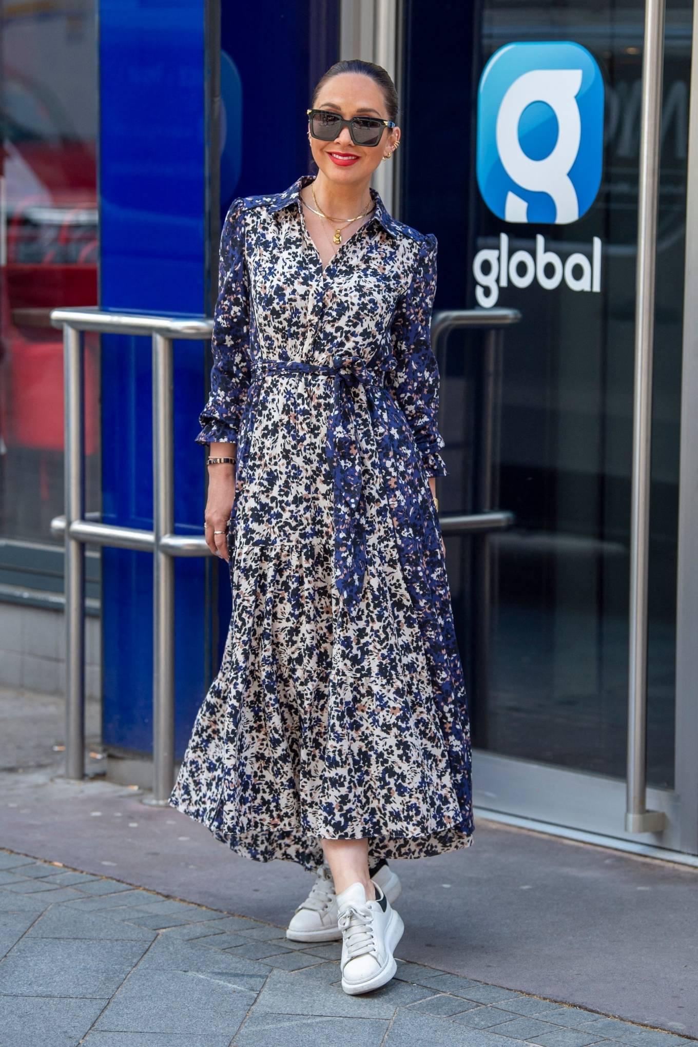Myleene Klass 2021 : Myleene Klass – In a long summer dress arriving at the Global studios -09
