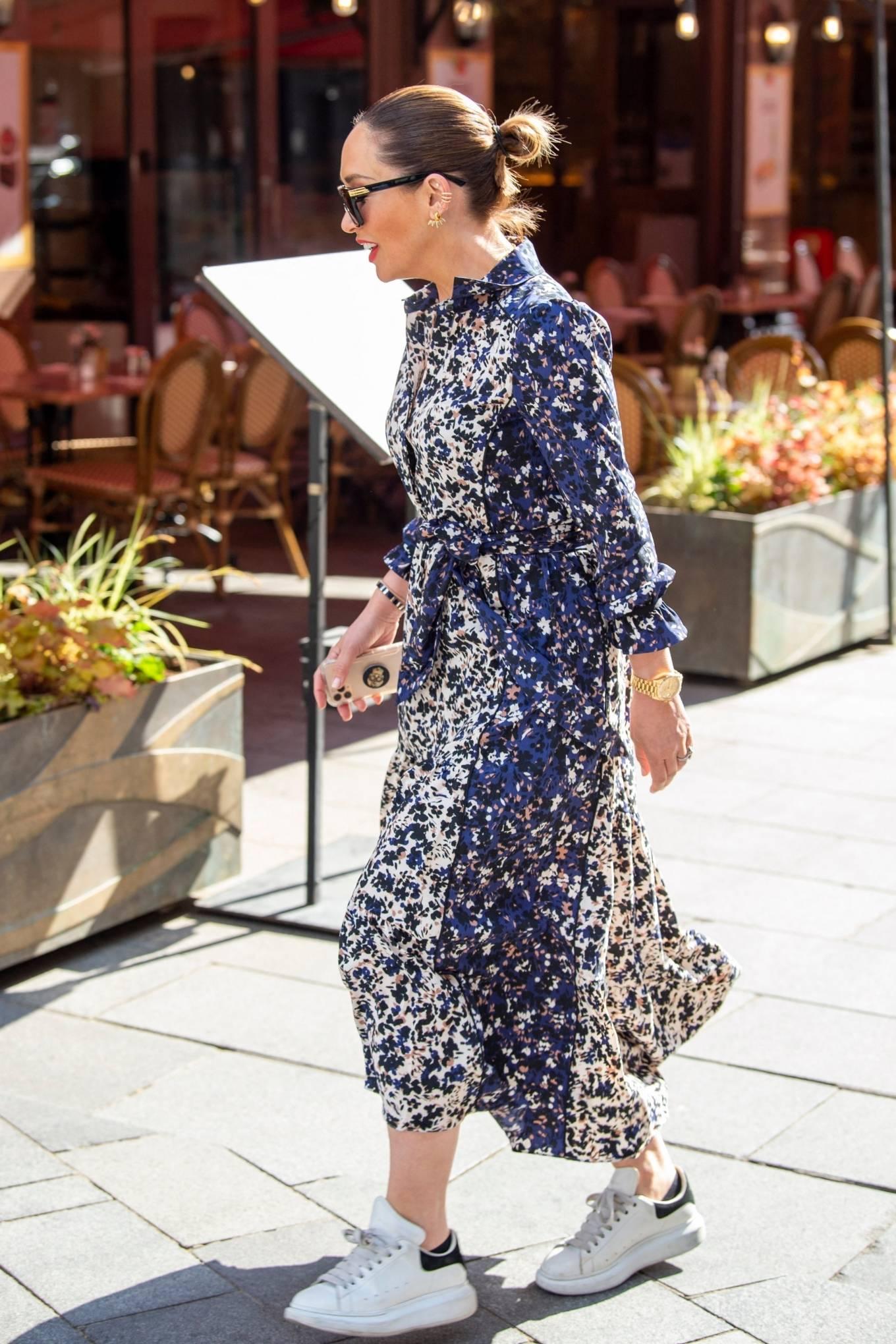 Myleene Klass 2021 : Myleene Klass – In a long summer dress arriving at the Global studios -10