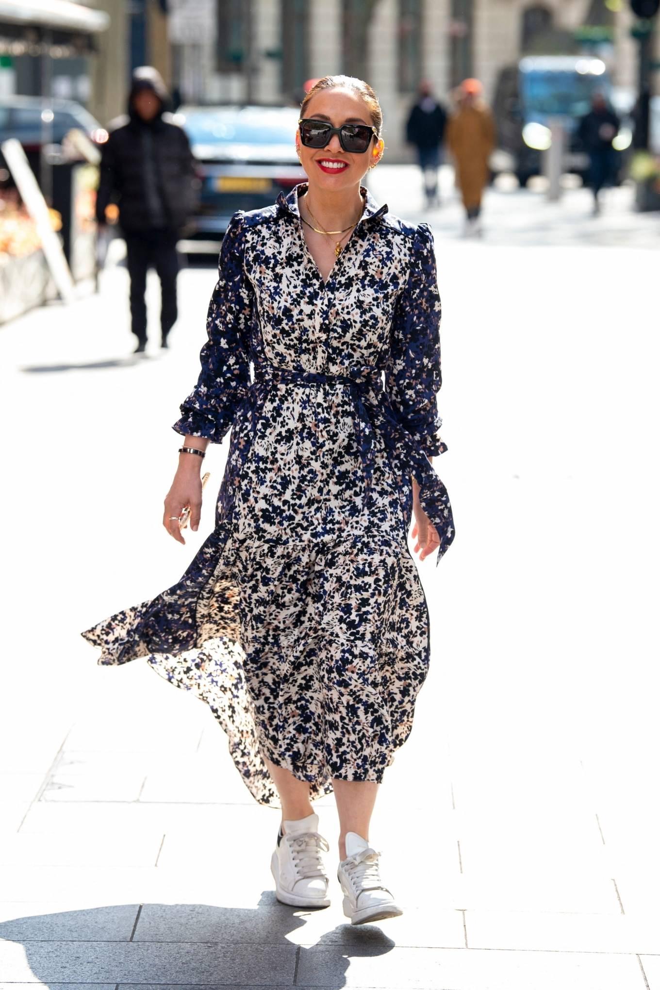 Myleene Klass 2021 : Myleene Klass – In a long summer dress arriving at the Global studios -11