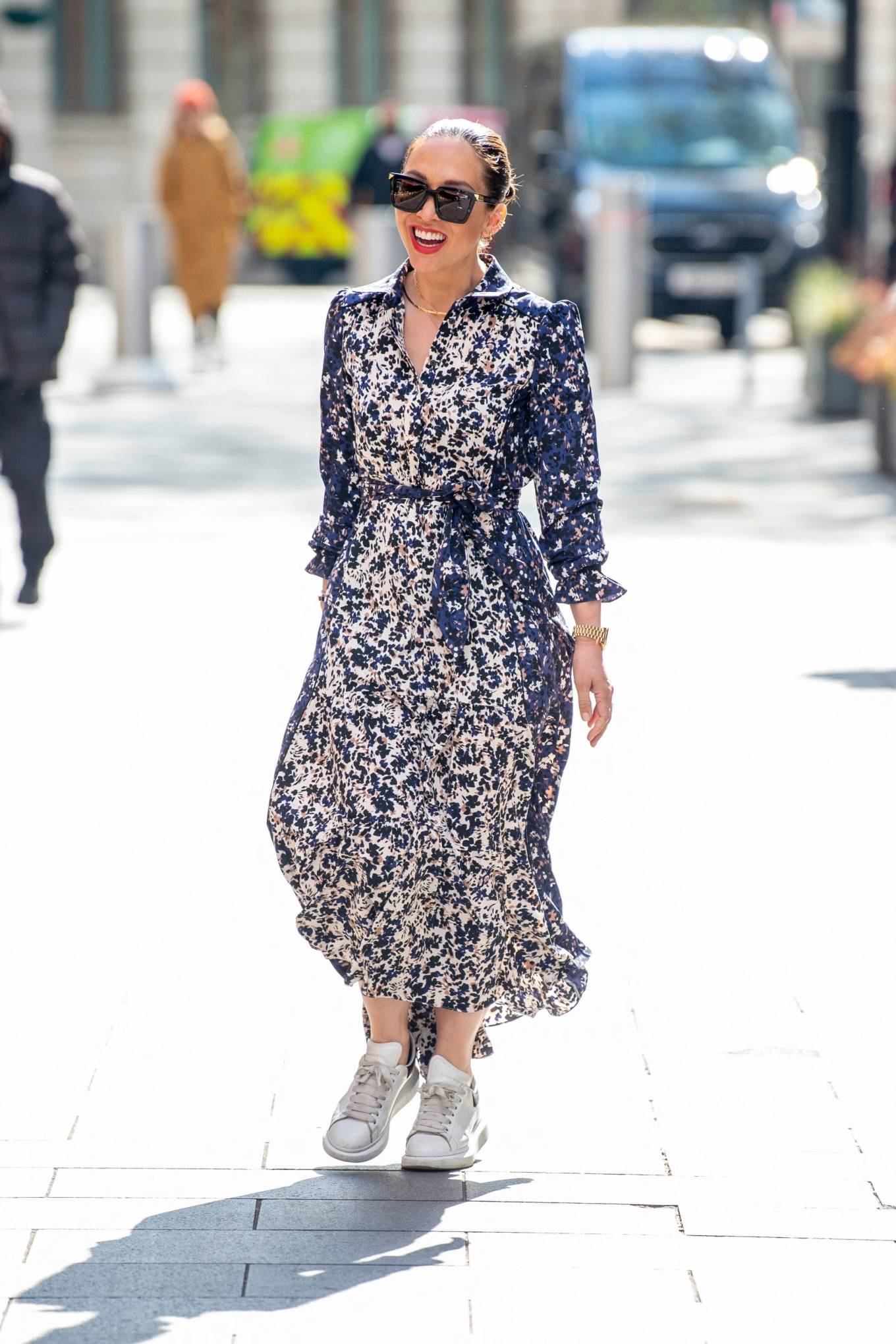 Myleene Klass 2021 : Myleene Klass – In a long summer dress arriving at the Global studios -12