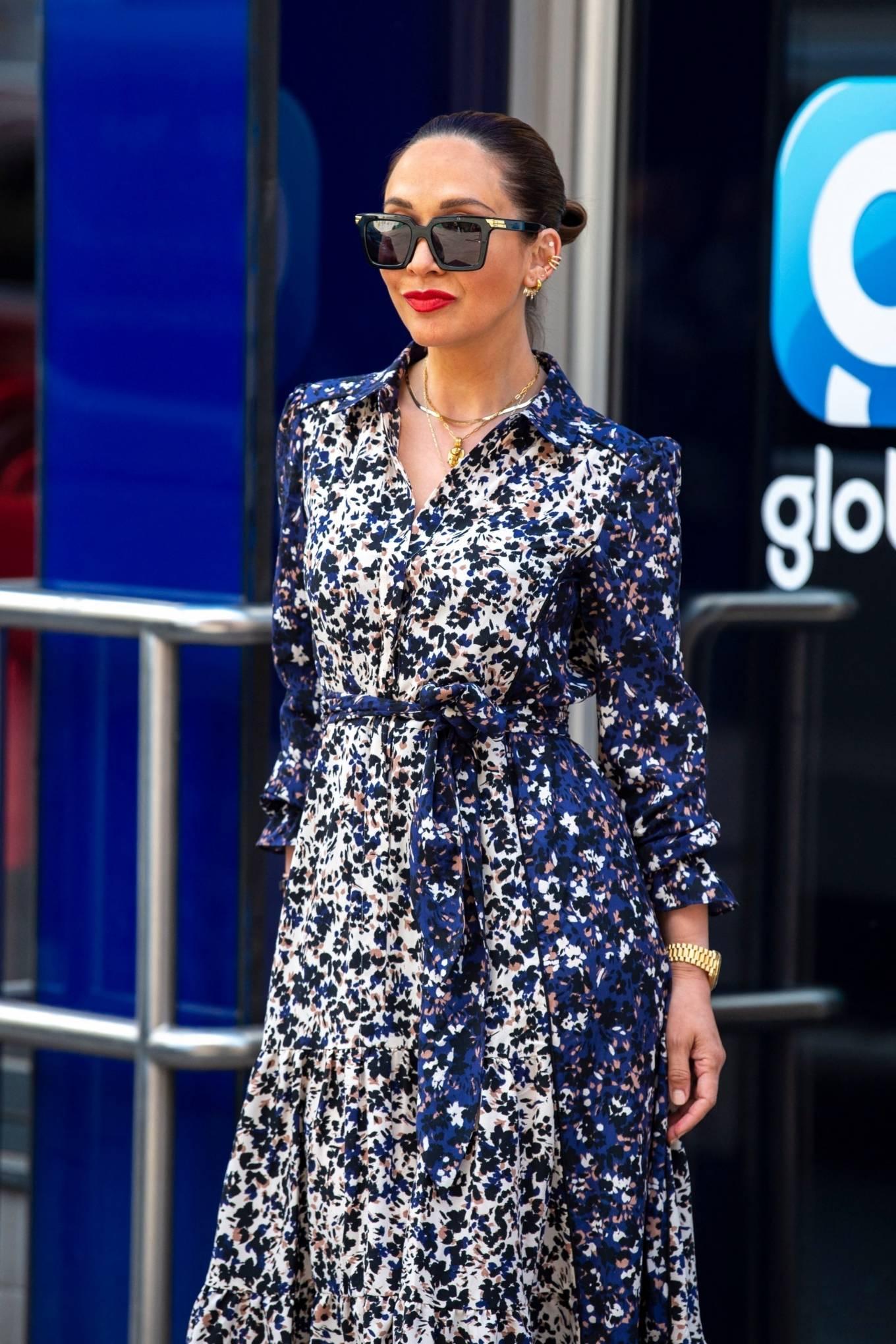 Myleene Klass 2021 : Myleene Klass – In a long summer dress arriving at the Global studios -13