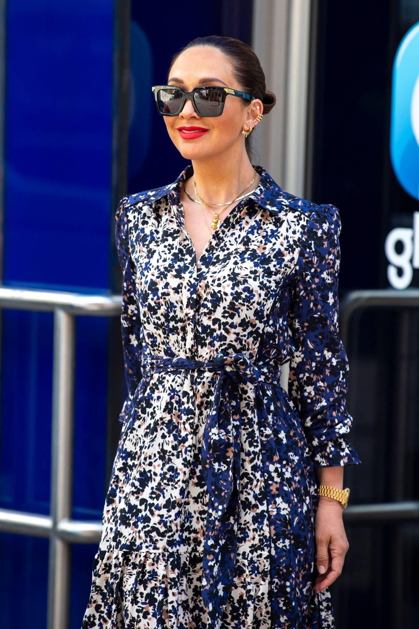 Myleene Klass 2021 : Myleene Klass – In a long summer dress arriving at the Global studios -15