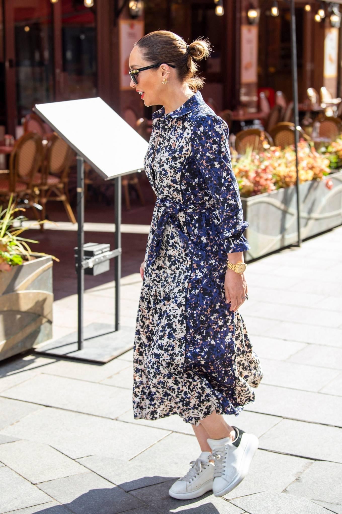 Myleene Klass 2021 : Myleene Klass – In a long summer dress arriving at the Global studios -16