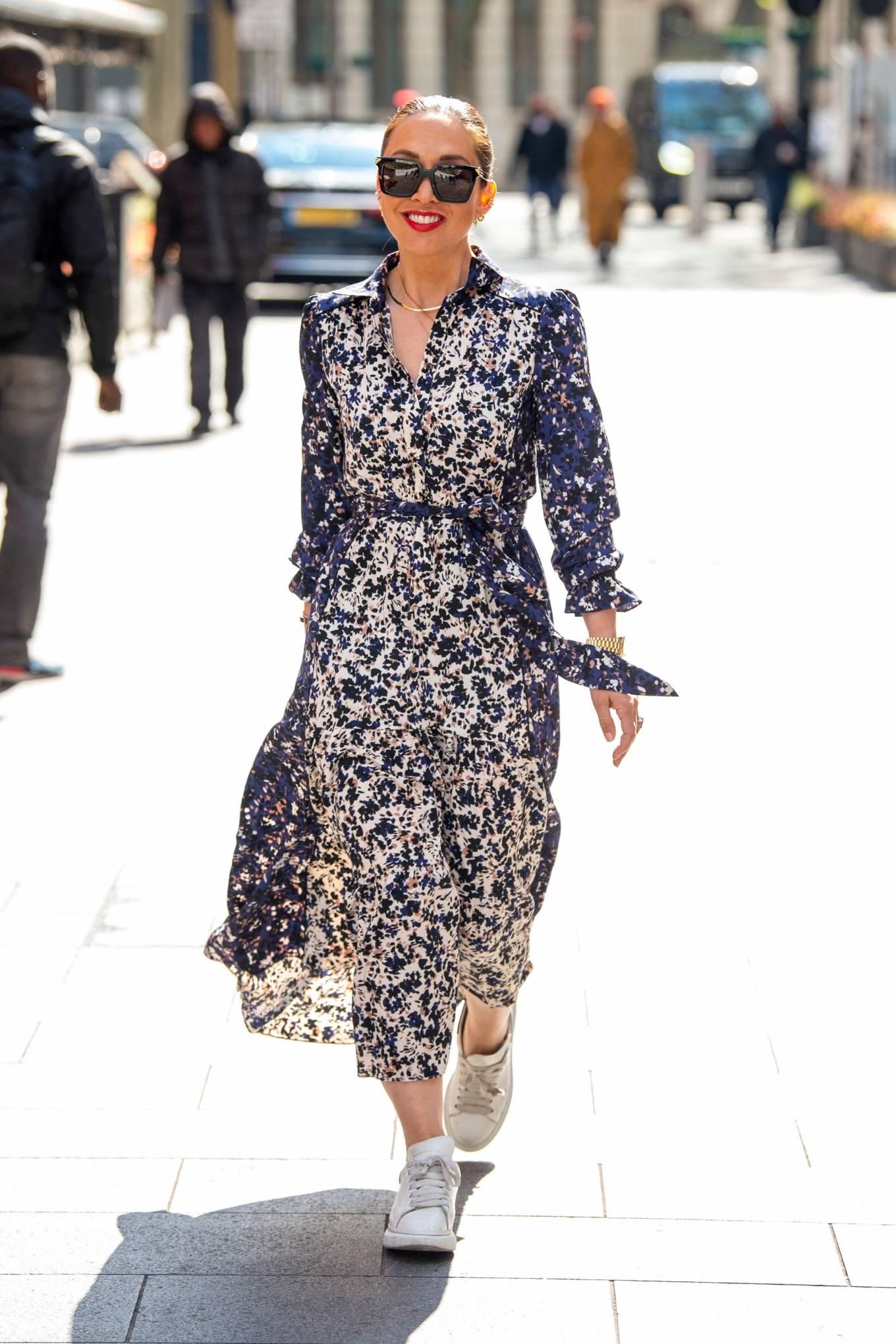 Myleene Klass 2021 : Myleene Klass – In a long summer dress arriving at the Global studios -18