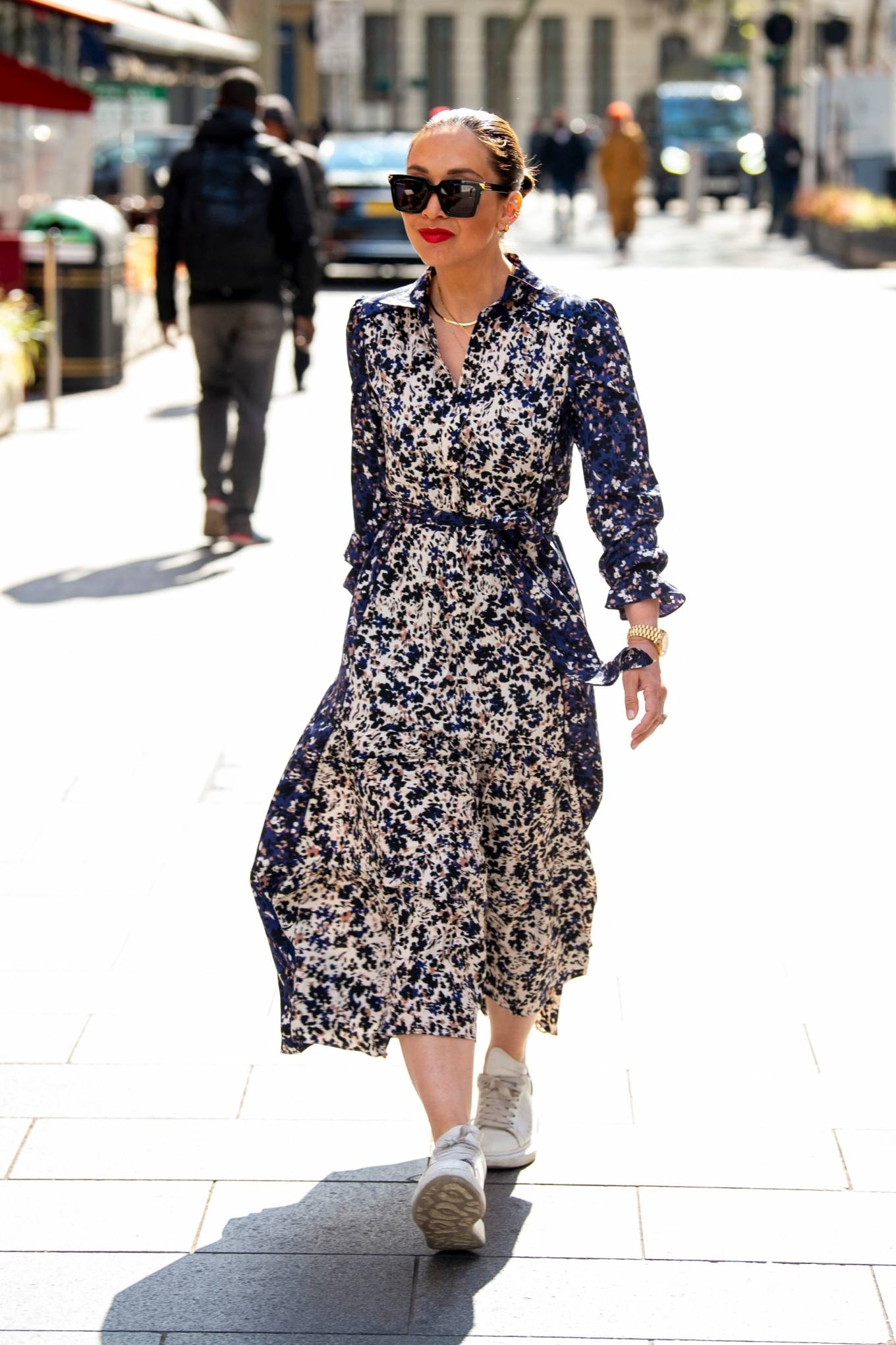 Myleene Klass 2021 : Myleene Klass – In a long summer dress arriving at the Global studios -19