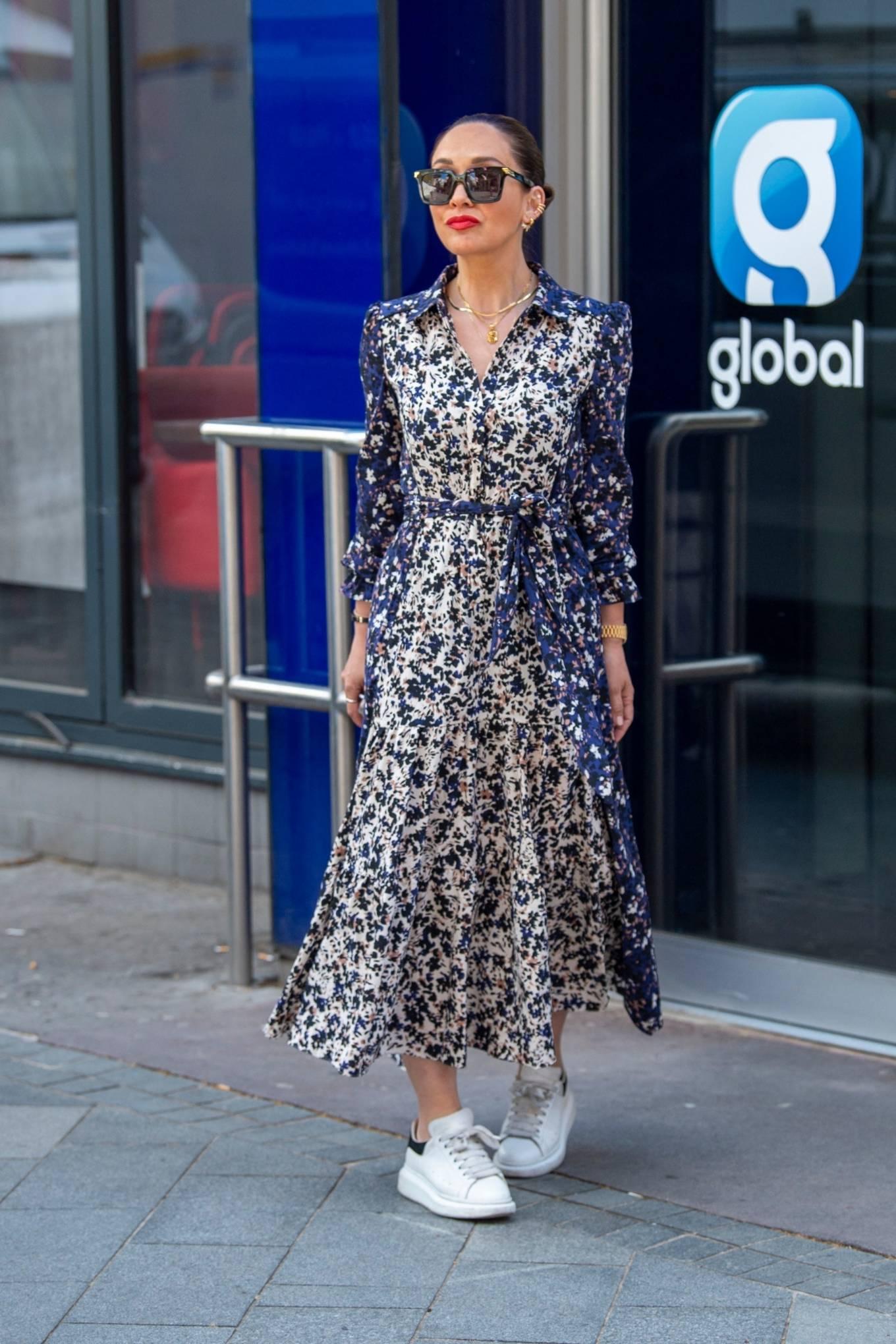 Myleene Klass 2021 : Myleene Klass – In a long summer dress arriving at the Global studios -20