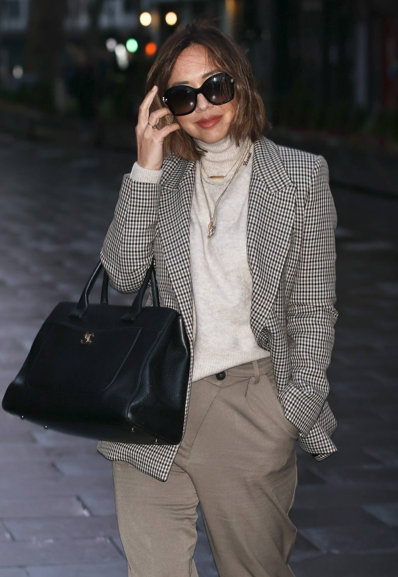 Myleene Klass - In a tweed jacket and trousers at Smooth radio in London