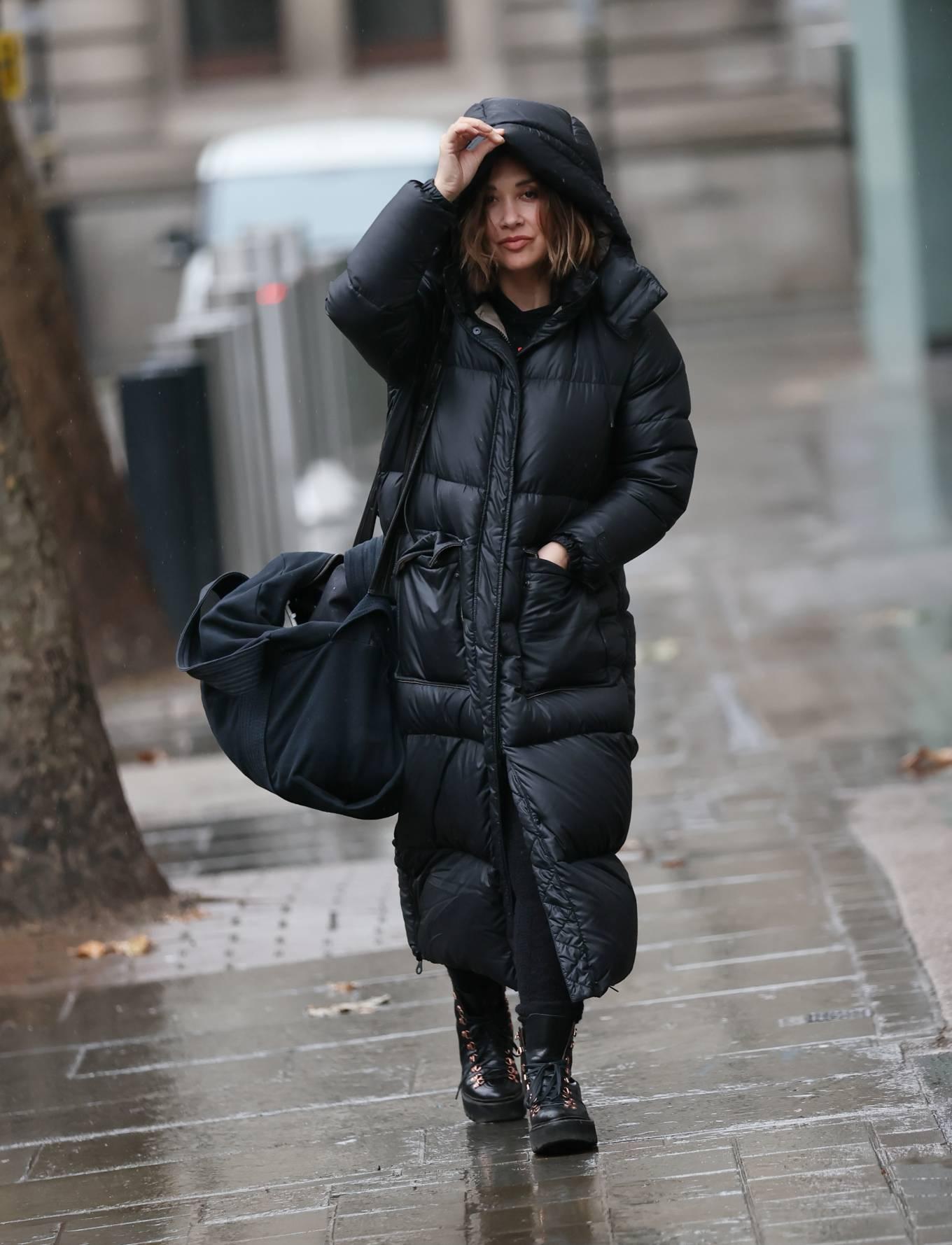 Myleene Klass 2020 : Myleene Klass – In a warm coat arriving at Smooth radio in London-01