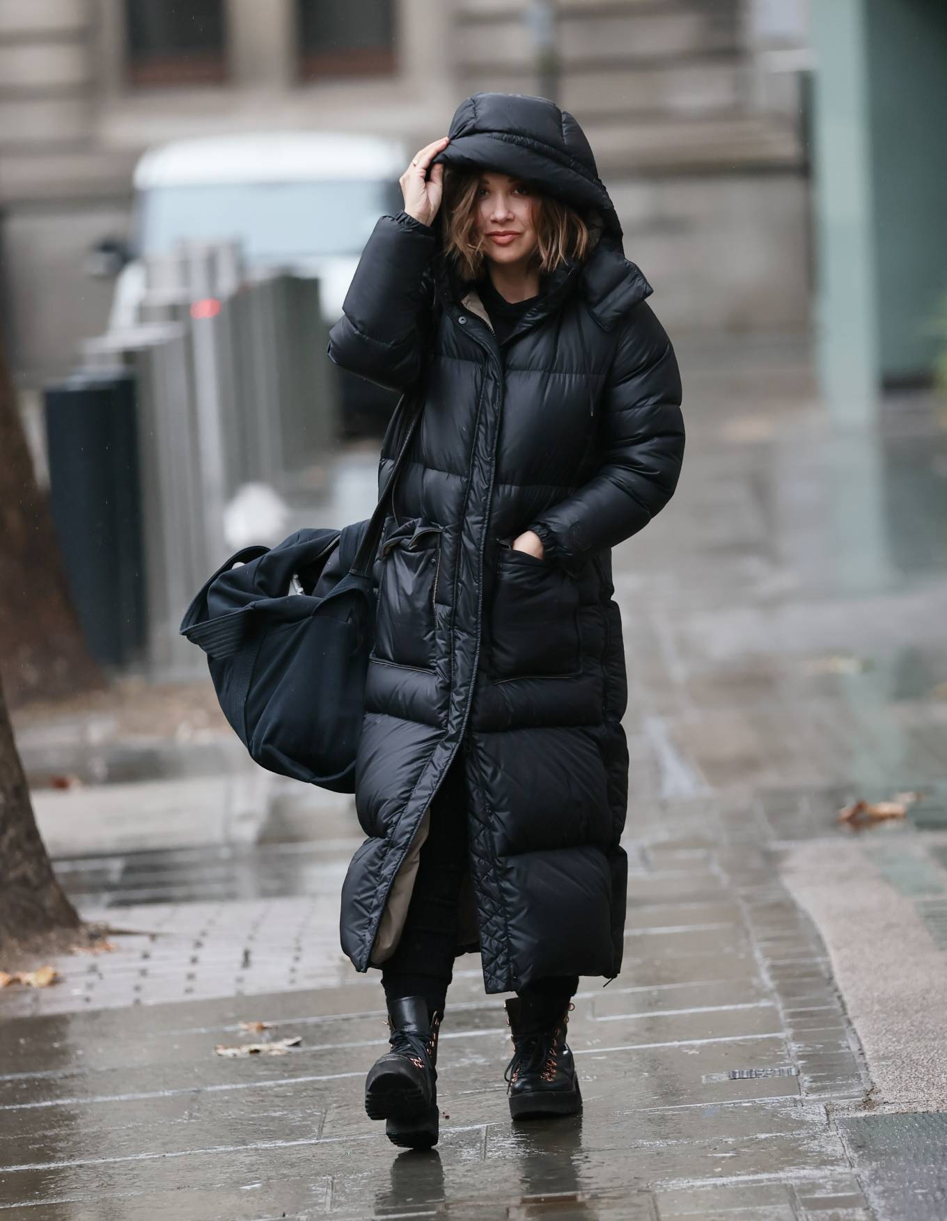 Myleene Klass 2020 : Myleene Klass – In a warm coat arriving at Smooth radio in London-04