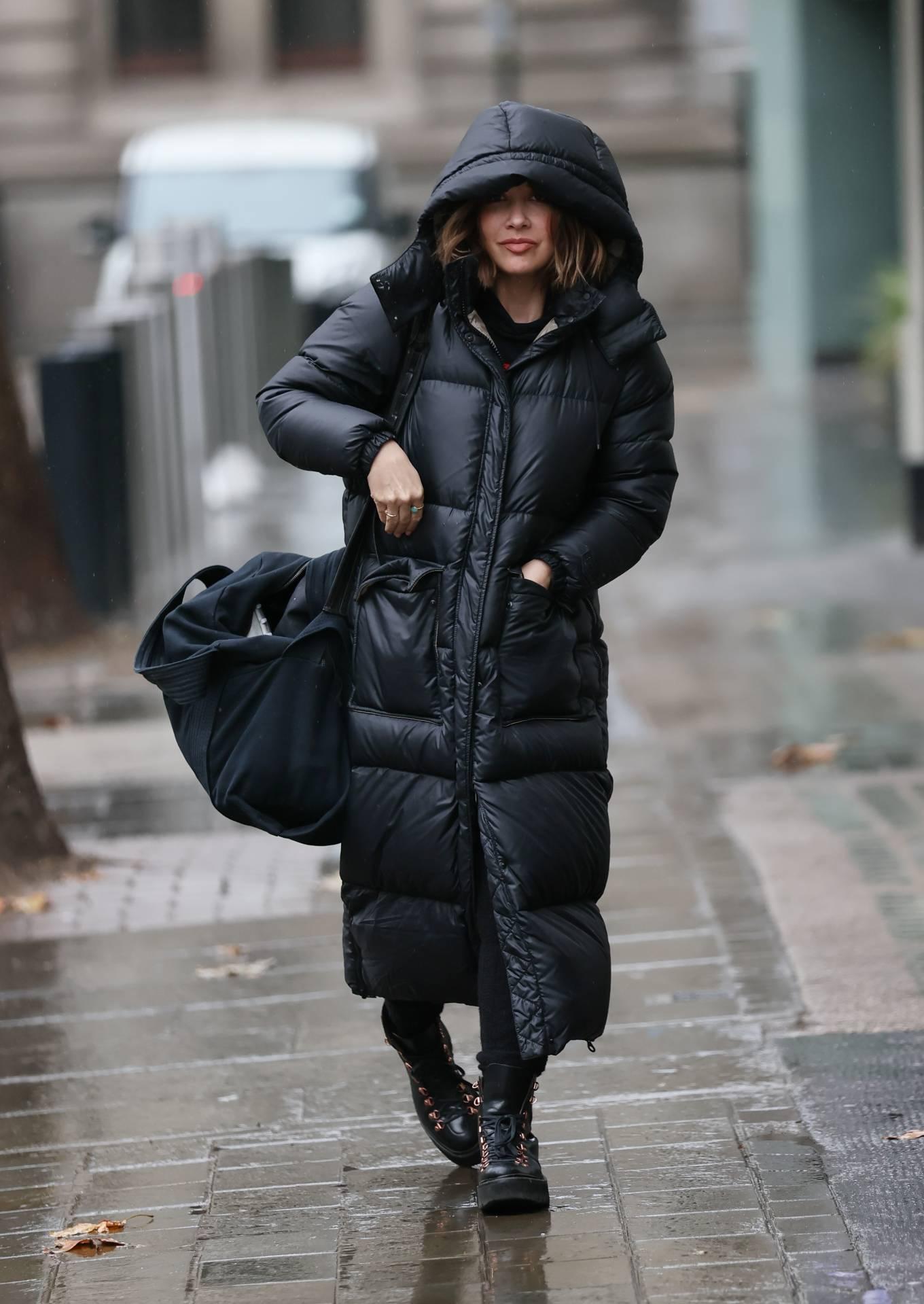 Myleene Klass 2020 : Myleene Klass – In a warm coat arriving at Smooth radio in London-06