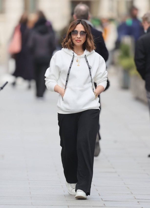 Myleene Klass - In a white hoodie and trainers at Smooth radio in London