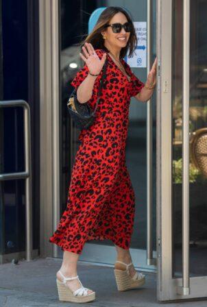 Myleene Klass - In an animal print maxi dress out in London