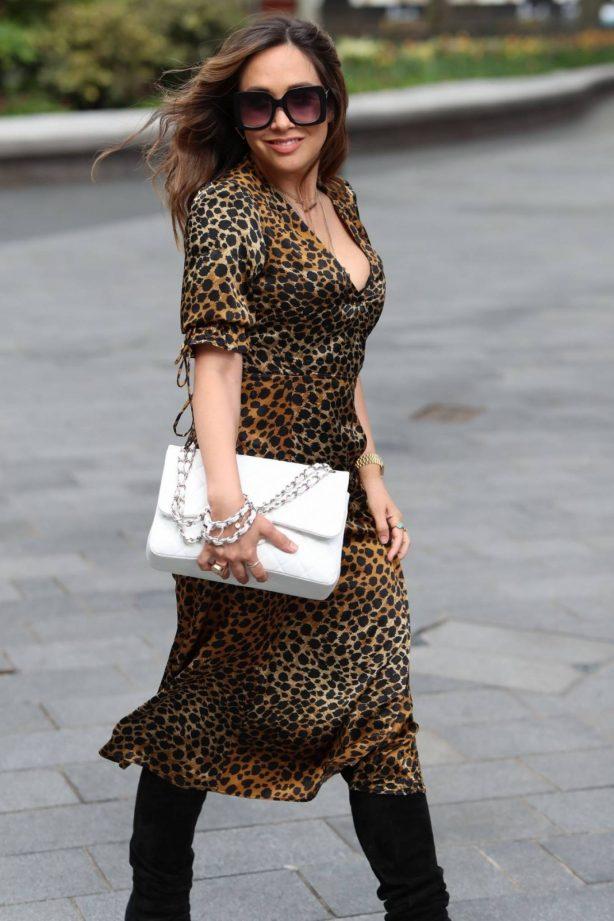 Myleene Klass in Animal Print Dress - Arriving at Smooth Radio in London
