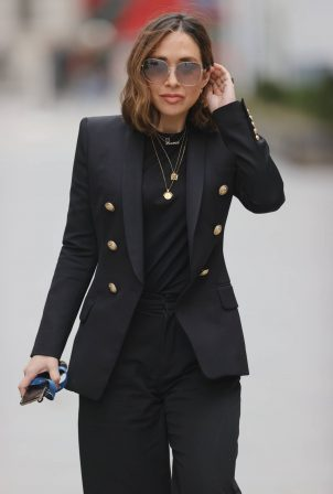 Myleene Klass - In black blazer and trousers at the Smooth Radio Studios in London