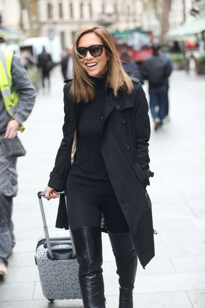 Myleene Klass in Black Coat out in London