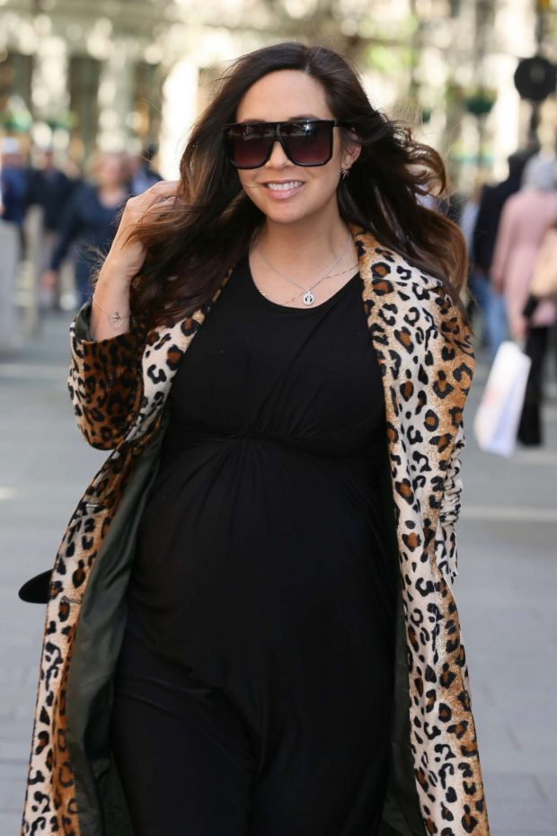 Myleene Klass in Black Dress and Animal Print Coat - Out in London