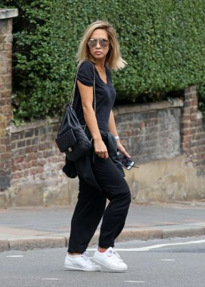 Myleene Klass in Black out in Highgate