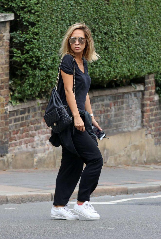 Myleene Klass in Black out in Highgate