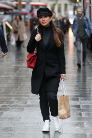 Myleene Klass in Black Outfit - Arriving at Smooth Radio in London